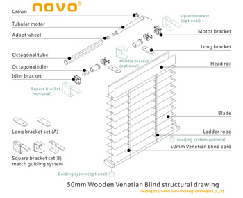 Novo 25mm Aluminum Motorized Timber Venetian Blinds