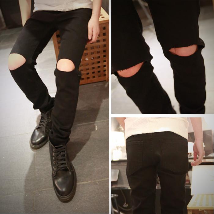 fashion men ripped jeans skinny white black hip hop jeans ...