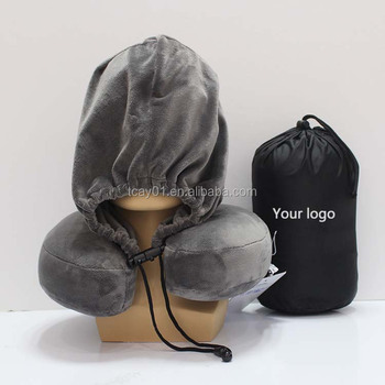 Wholesale OEM Embroidery logo U shape  hooded travel neck pillow