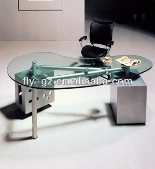 Modern Office Furniture Curved Glass Office Desk Buy