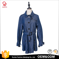 Custom Design OEM ODM Wholesale Spring autumn long jean coat denim jacket for women