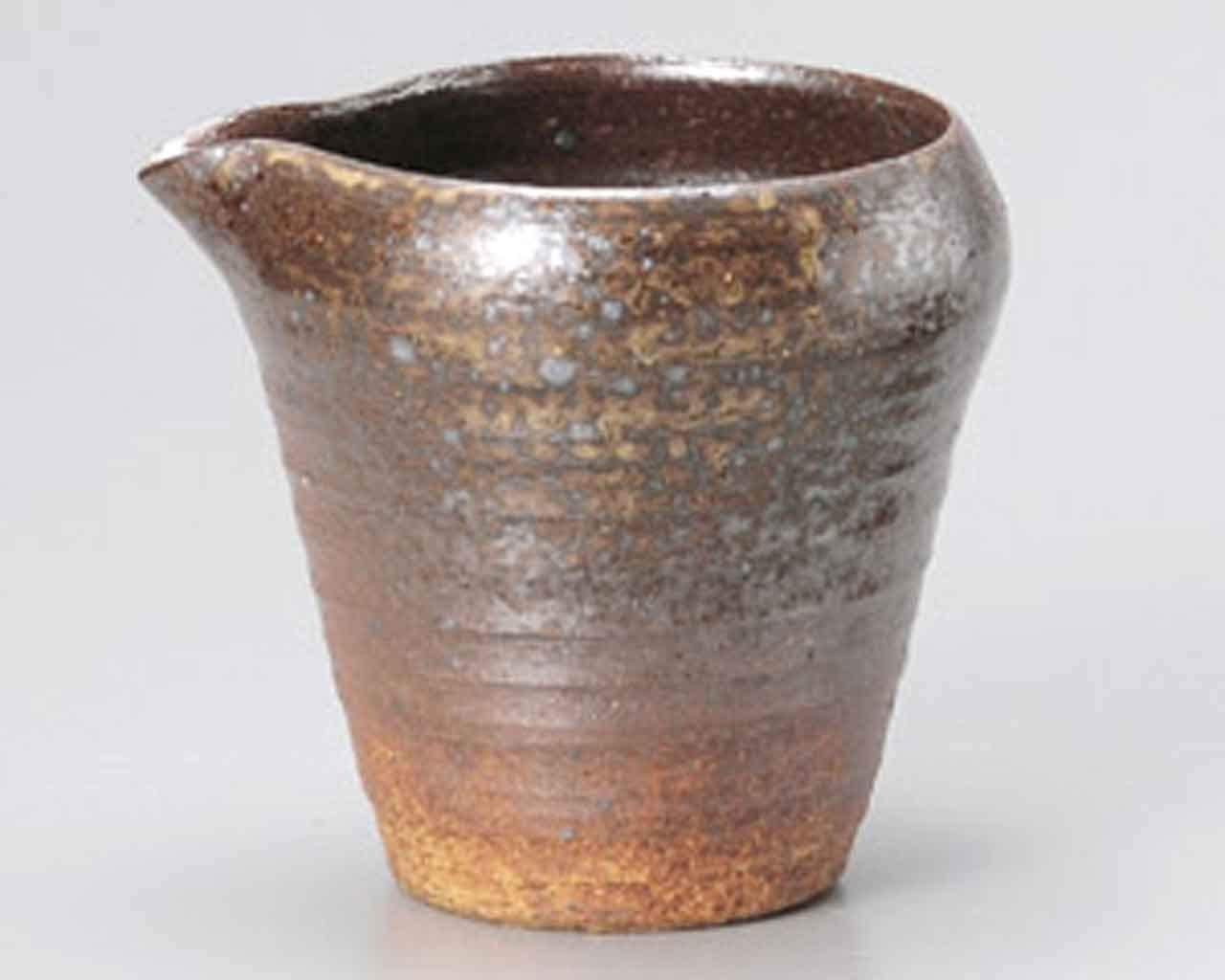 Bizen Grey-Blow 4.3inch Set of 2 Sake carafes Brown Ceramic Made in Japan