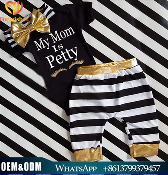 Wholesale children's summer clothes sets newborn baby girls black eyelash printed romper+striped pants+gold bow headband 3pieces