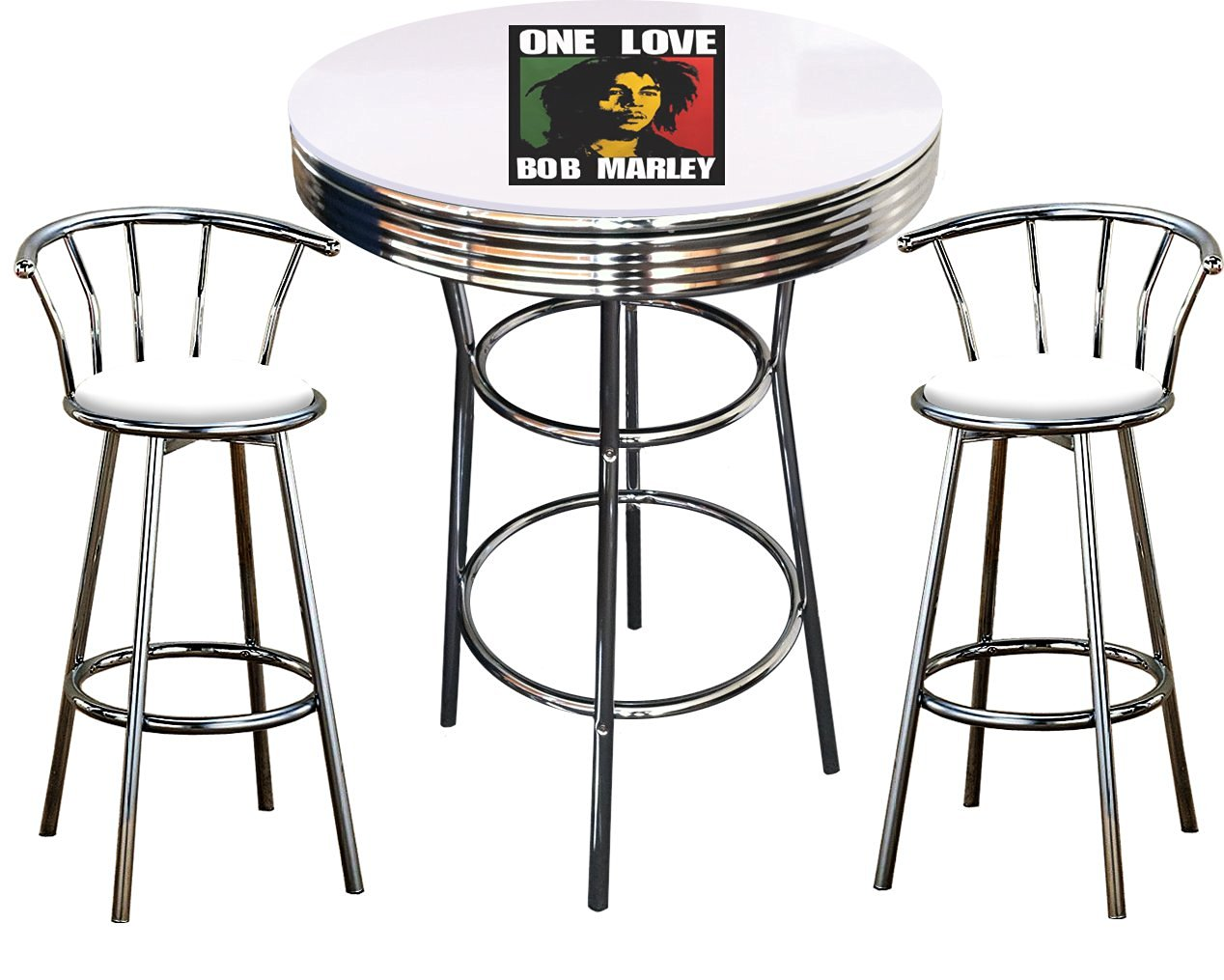 Get Quotations · Bob Marley Themed 3 Piece Chrome Metal Finish Bar Table  Set With Glass Table Top U0026