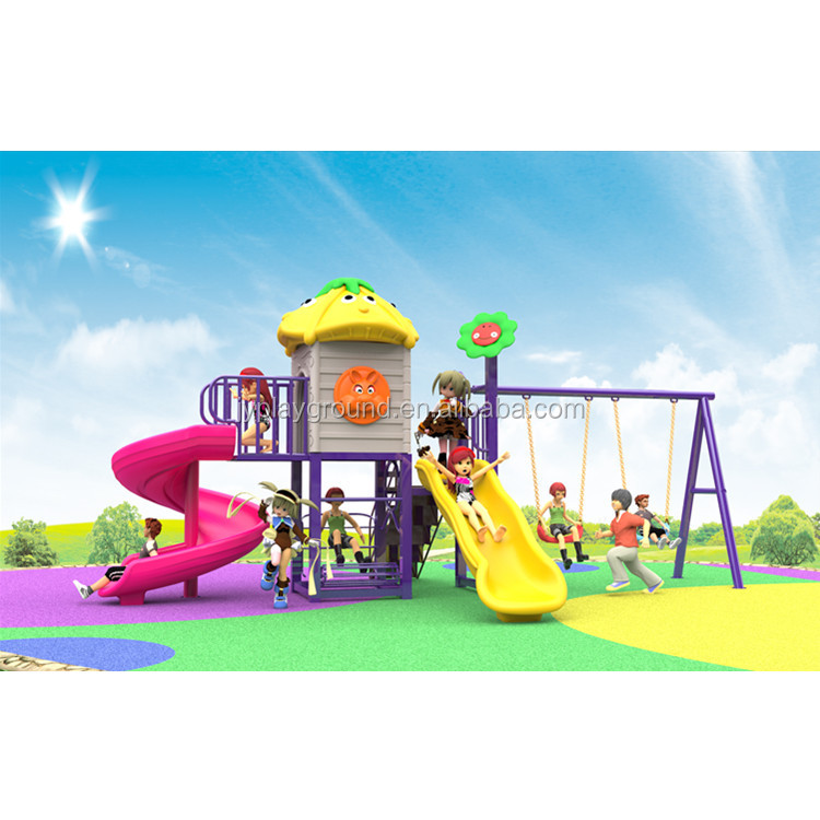 Simple outdoor playground equipment with children slide swing sets toys for kids