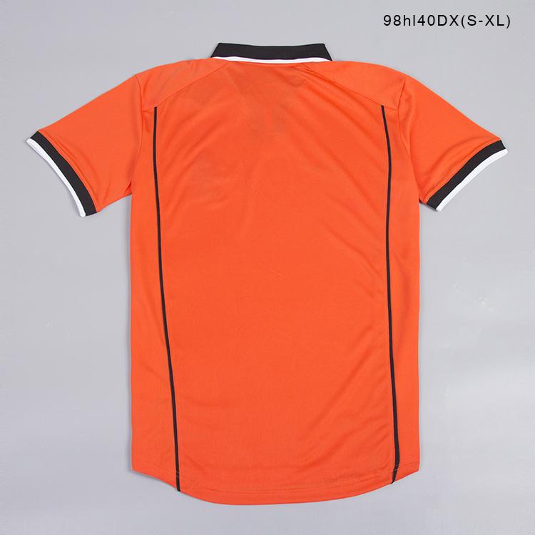 1998 Souvenir orange Holland soccer jersey 100% Polyester Breathable custom football club jersey tops