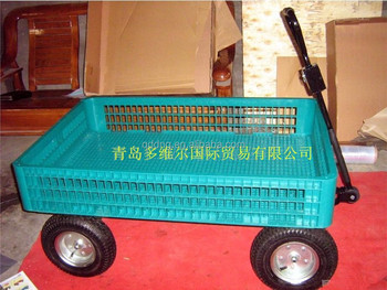 material handling cart plastic mesh tray and pneumatic wheels garden utility cart tc1858
