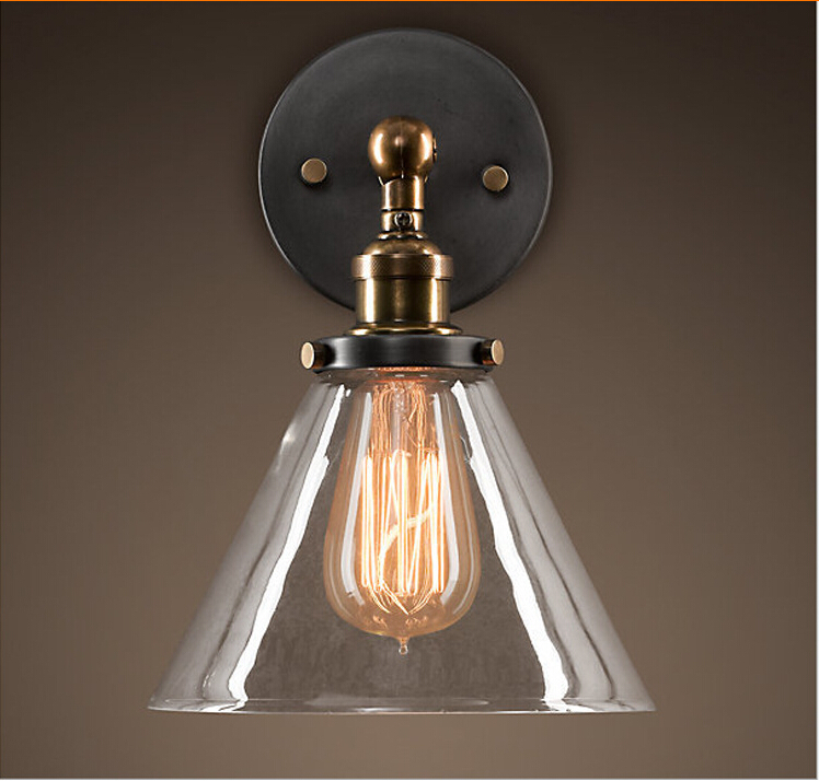 Kitchen Wall Lights: Free Shipping Lampara Vintage Clear Glass Iron Wall Lights