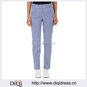 Customized Lady's Apparel Double-weave Blue and White Gingham Stretch Golf Pants(DQM022P)
