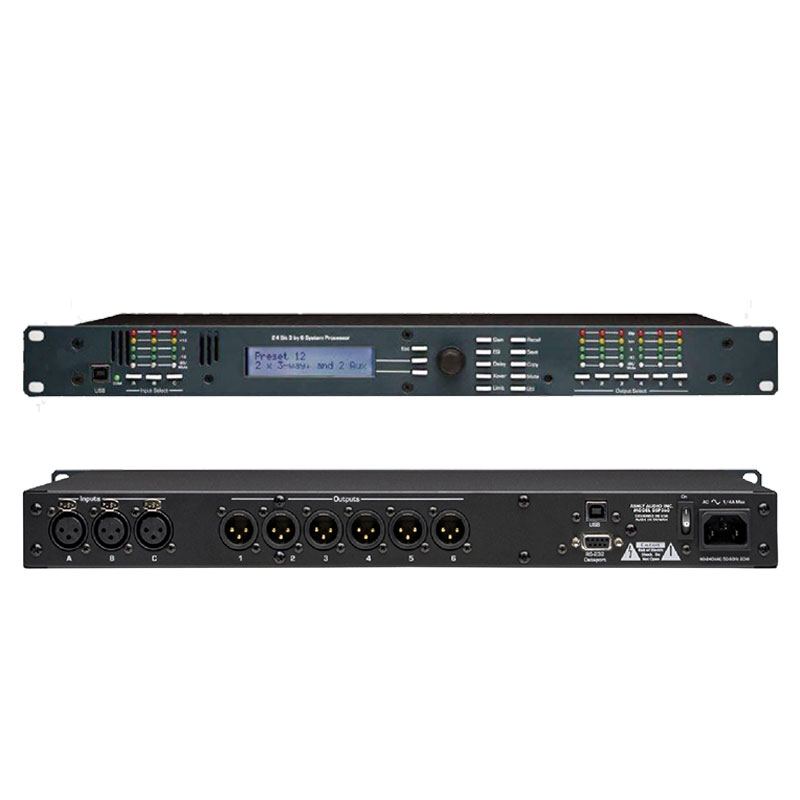 3 in 6 out Professional Amplifier Digital Audio processor