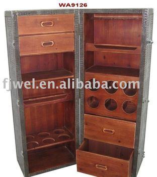 Wheeled Steamer Trunk Bar Cabinet