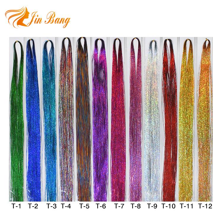 0d5d6d31 Varios Colores barato laser del oropel pelo extensión sparkle glitter  tinsel pelo