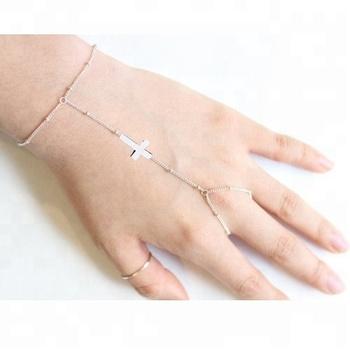 Sterling Silver Simple Cross Slave Bracelets