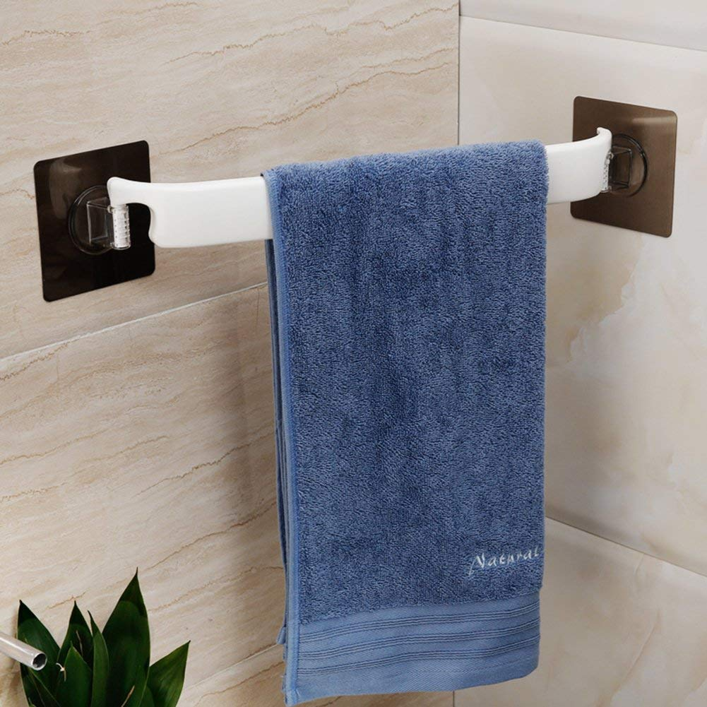 Get Quotations Towel Bar Suction Cup Rack Hole Free Toilet Corner Hanging Rod Adhesive