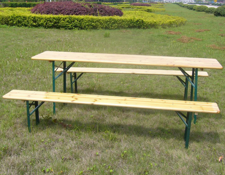 Outdoor wooden foldable beer table and chair bench