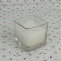 3pcs Cube glass candle with gift package