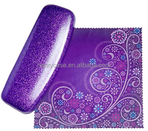 Dazzle Purple Color Pu Leather Hard Metal Eyeglass Cases Made In China