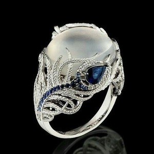 European Vintage Brilliant Moonstone Flower Ring Silver Plated Pave Blue Cubic Zirconia Flower Ring