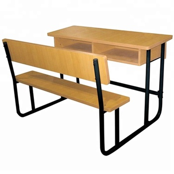 Wood Double School Desk With Bench Primary School Furniture Price