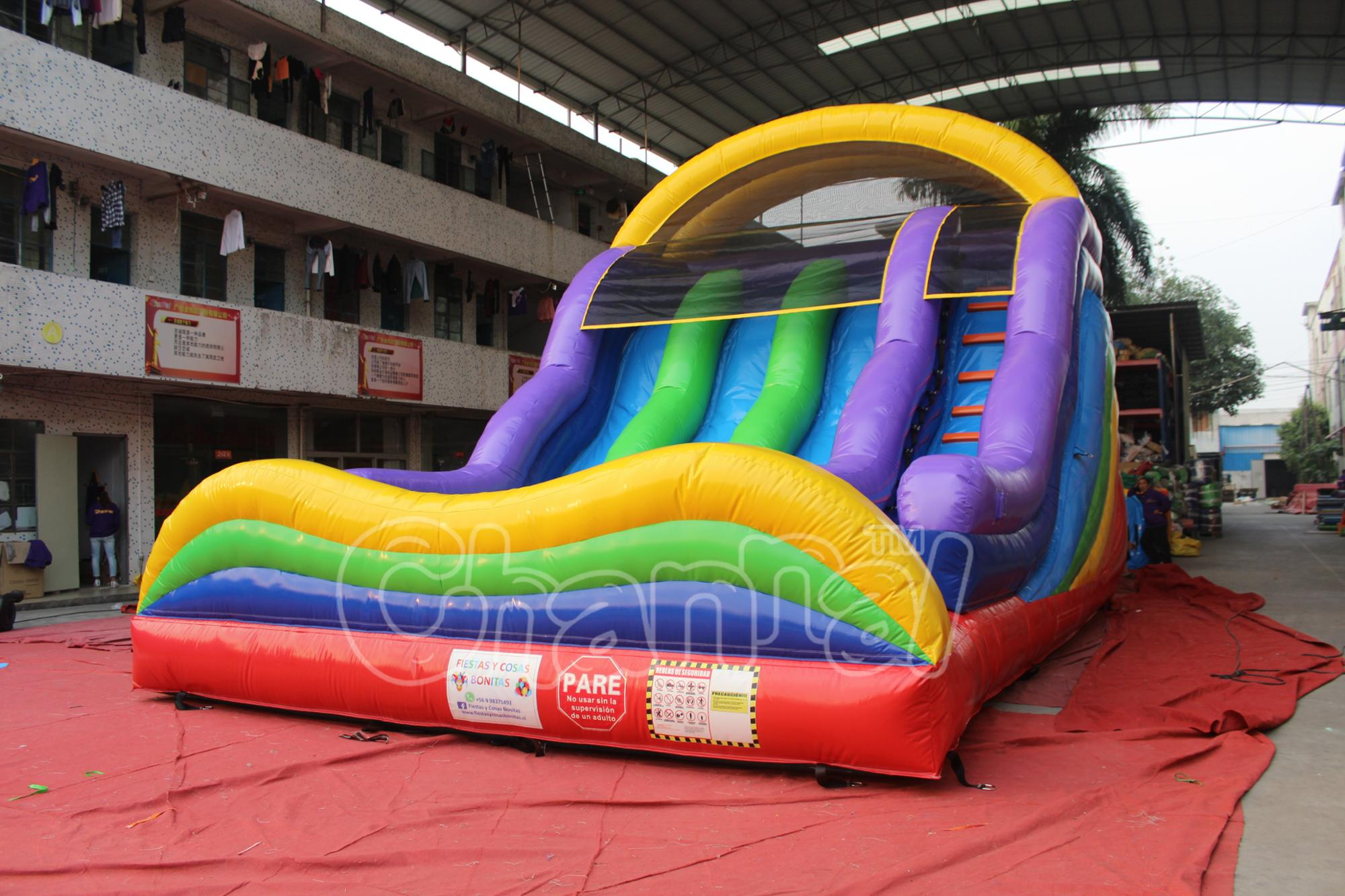 Commercial Rainbow duel lane slide inflatable dry bouncer slide inflatable Slide for adults