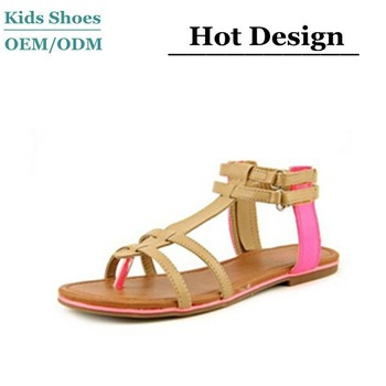 Sintetis Atas dan Outsole Buatan Manusia Tan Pink Pemuda Gadis Gladiator Sandal  Sepatu 516d3de580
