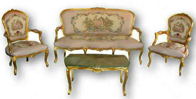 French Louis Xv Style 6 Piece Salon Suite,Reproduction Furniture ...