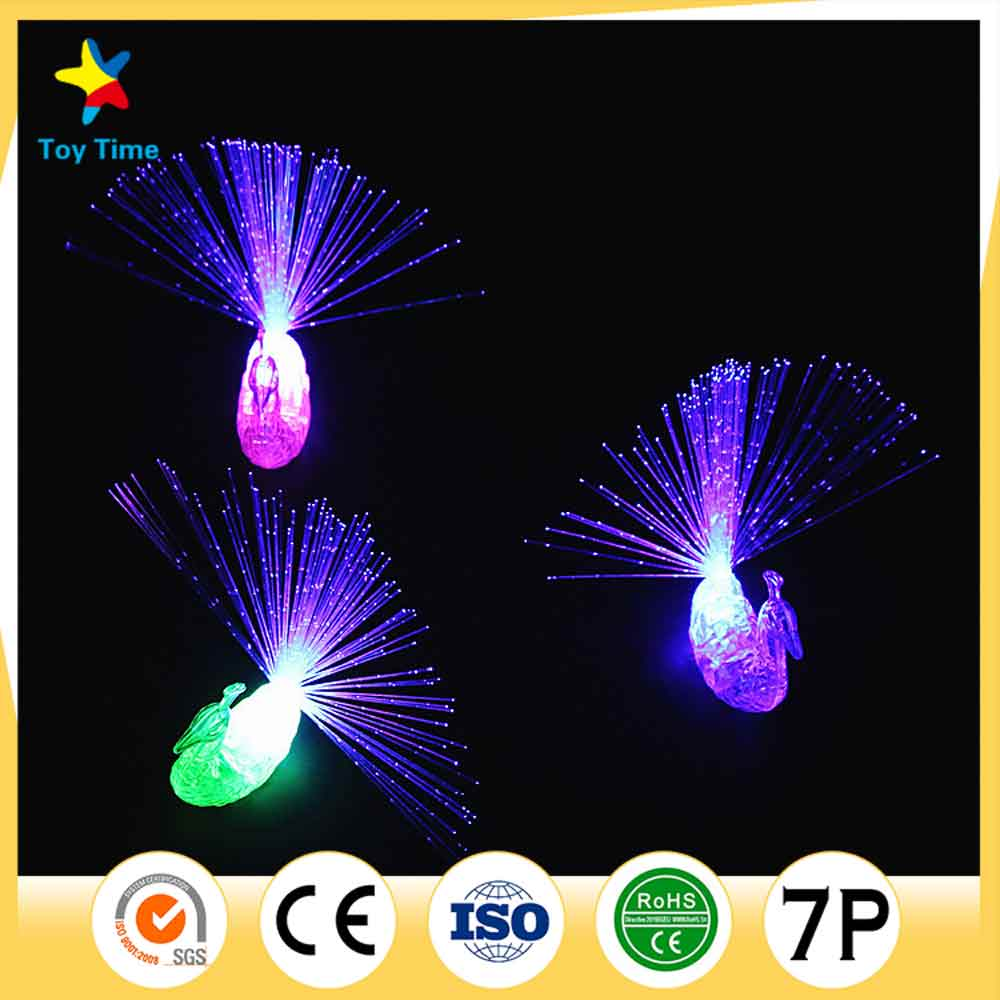 Hot Sale Colorful Peacock Finger Led Light Ring For Party Cheering Novelty Toy Gift For Kids