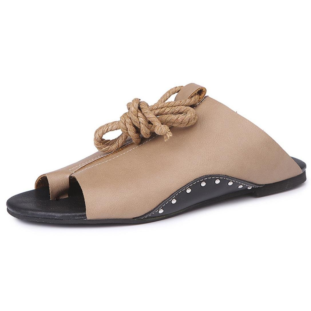 Flat-Bottomed Roman Sandals,Clearance! AgrinTol Women Open Ankle Flat Straps Platform Wedges Flat-Bottomed Roman Sandals (9, Khaki)