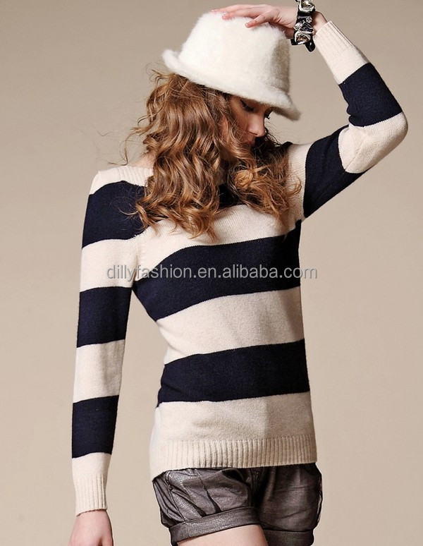Ladise black and white striped sweater, cashmere sweater