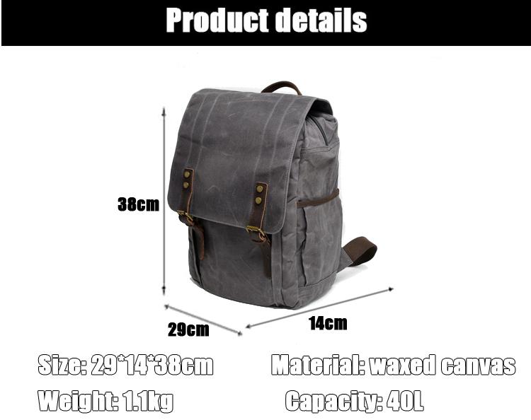 Latest trendy classical design waxed canvas water camera resistant satchel rucksack bagpack backpack bag unisex