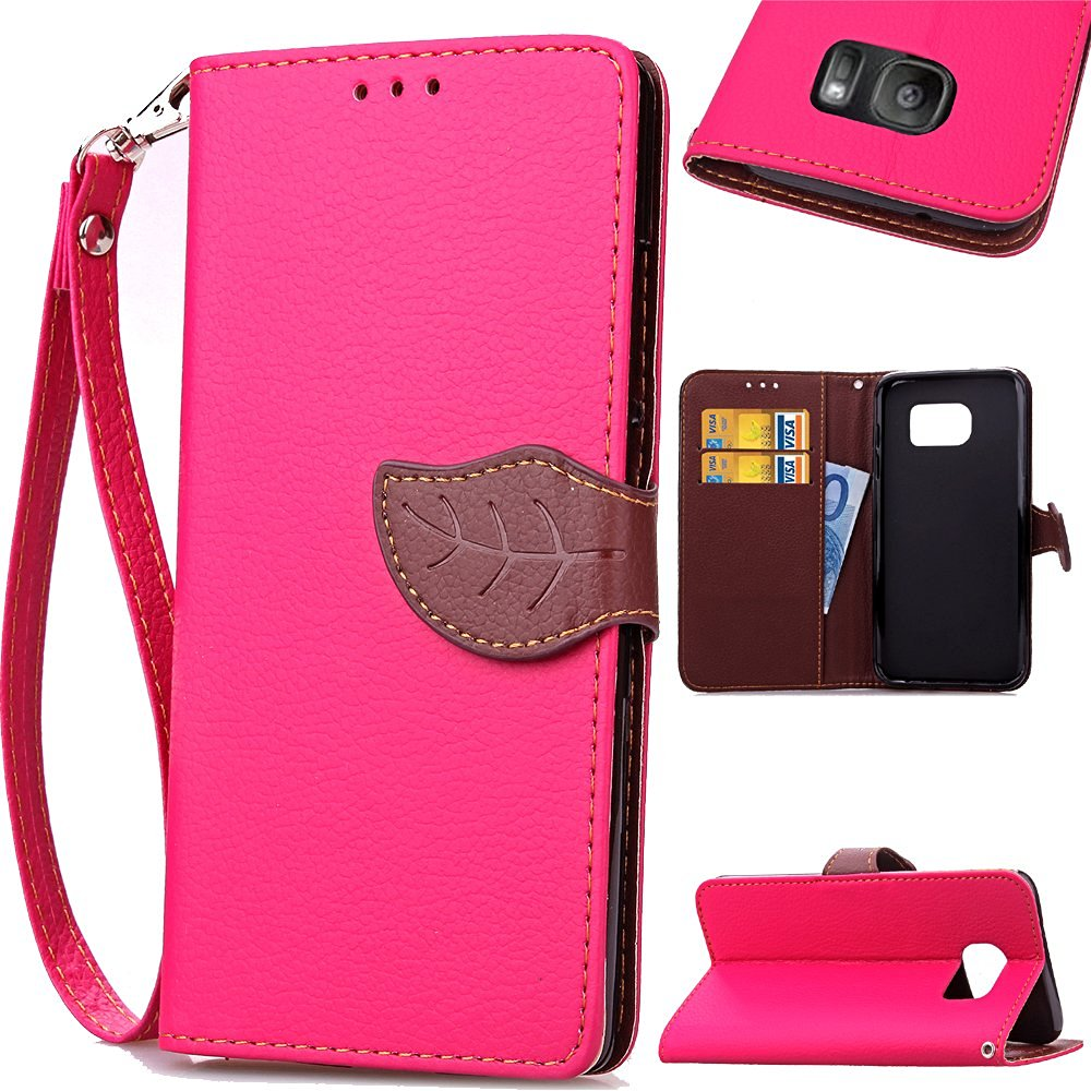 Galaxy S7 Edge Case, IVY [Leaves Buckle][Card Slot][Flip Kickstand][Slim Fit][PU Leather][Wallet] - Case For Samsung Galaxy S7 Edge SM-G935 Devices [Hot Pink]