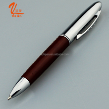 leather engraving pen metal PU leather roller pen low price leather barrel promotion pen