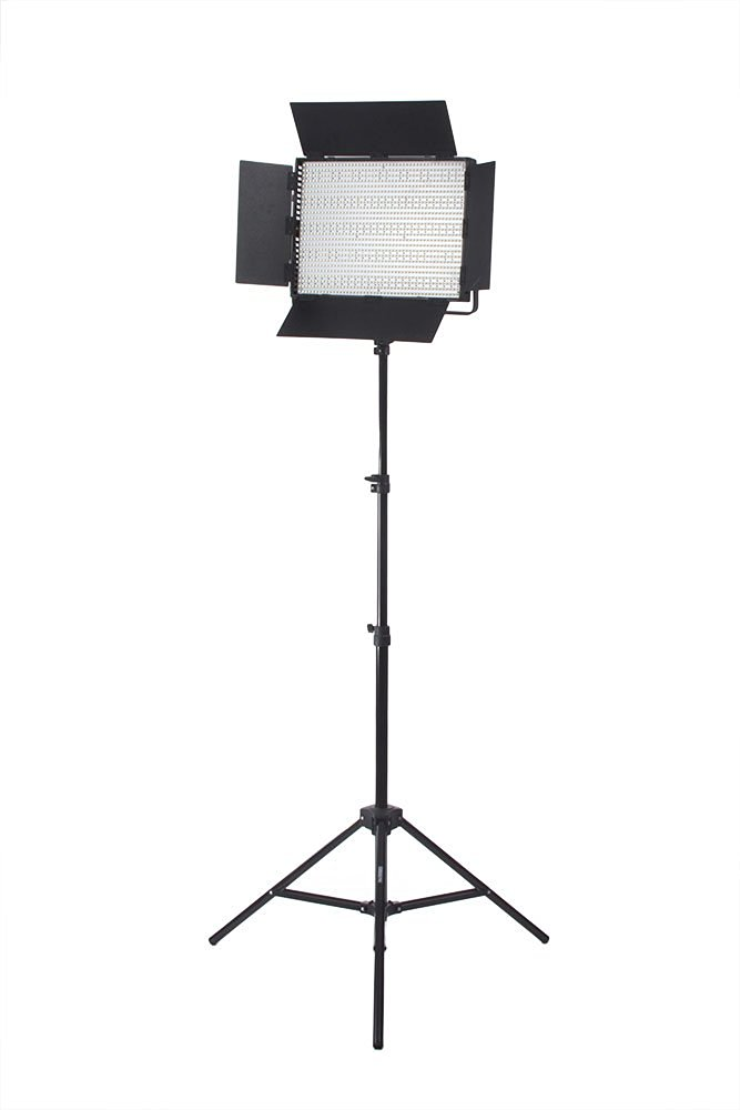 StudioPRO Single Ultra High Power Dimmable 1200 LED Photography Lighting Panel & Stand Kit, 1200 CN-1200CHS Continuous Bi Color 3200K-5600K Daylight Includes Barndoor, Photo Studio Video & Film Production Lighting Kit