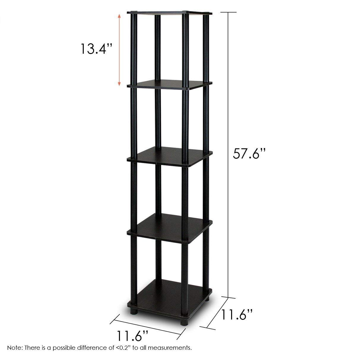 Trustpurchase 5-Tier Square Corner Display Shelf Bookcase in Espresso/Black, Designed to Meet The Demand of Low Cost but Durable & Efficient Furniture, Stylish Design Yet Functional Suitable for Room