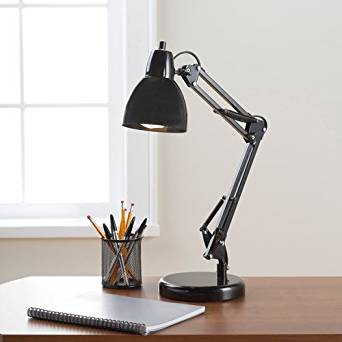 "Architect Desktop Lamp with Weighted Base for Extra Safety, Adjustable Lamp Arm and Shade, 21.75"" Tall, Black"