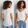 Wholesale Bulk Clothing Online Store Blank Lightweight Soft Short Sleeve Sublimation Female Deep Neck Sexy White Cotton Tshirt