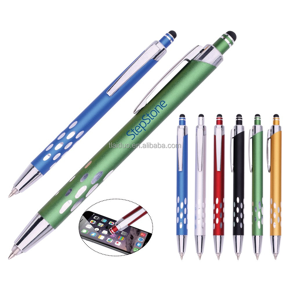 Alibaba wholesale free samples smartphone screen touch pen cheap LED light metal pen with custom logo