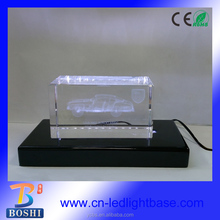 Black satin finish wooden led light display base for acrylic