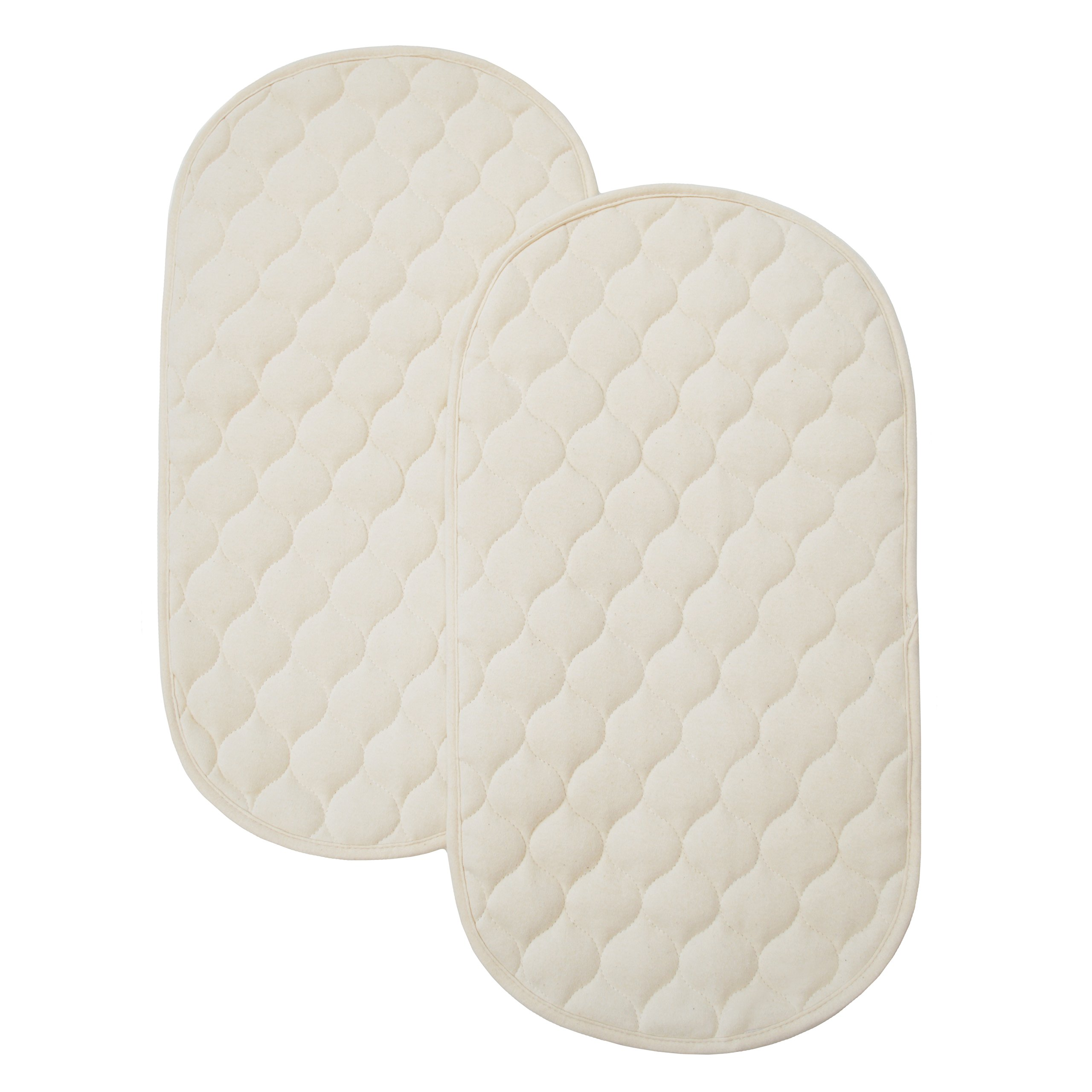 American Baby Company Natural Waterproof Quilted Playard 2 Pack Changing Table Pads Made with Organic Cotton - Vinyl Free