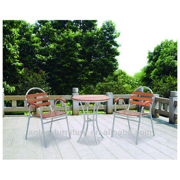 Patio cast aluminum antique wooden outdoor metal table and chair