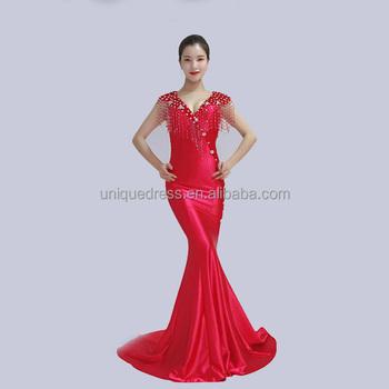 Cheap Price Stain Beading Fish Cut Dress Women Wear Gowns Night ...
