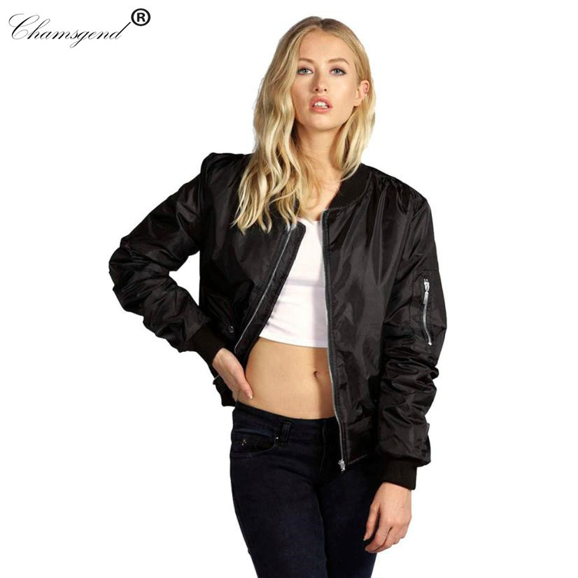 venta online múltiples colores nuevo producto Wholesale Newly Bomber Jacket Women Basic Coats Celeb Bombers Stand Collar  Zip Up Short Black Autumn Coat Jackets Chaquetas Mujer Oc22 Biker Leather  ...