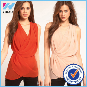 YH 2015 New Chiffon Blusas Feminine V Neck Wrap Front Women Blouses Slim Sleeveless Casual Vest Tops Camisas Feminine Pink/Red