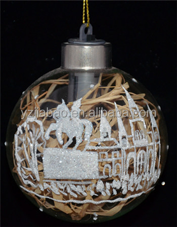 New design hanging <strong>christmas</strong> ornament and decoration, clear glass <strong>christmas</strong> printed ball with castle, horse and LED light