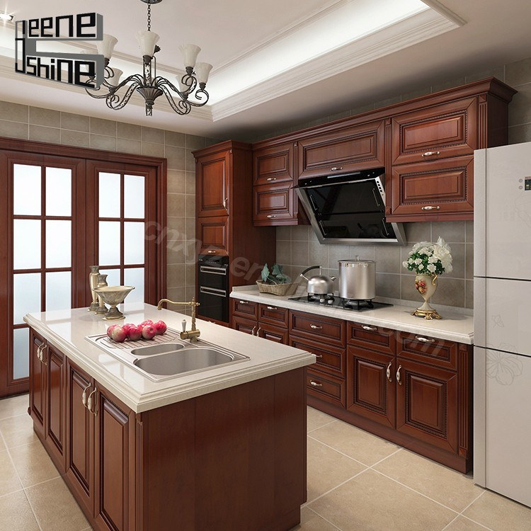 Purchasing Kitchen Cabinets: Brown Color Modern Design Modular Solid Wood Kitchen