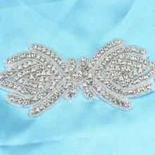 fashion new handmade hotfix bridal rhinestone applique trim 7*15cm