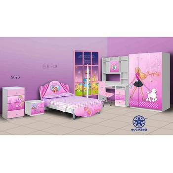 Uv high gloss pink used kids bedroom set for girl 967g for Used kids bedroom furniture