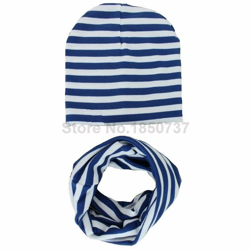 a16071eebbe86f Stripe Knit Baby Cap Scarf 2pcs Baby Hat Scarf Set Newsboy Caps Girls Boys  Hats Autumn Winter Children Scarf enfants bonnet