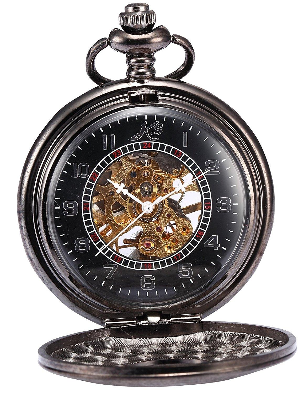 HELMASK pocket watch - Alloy Black Round man mens Analog Mechanical Hand-winding Half hunter Pocket Watch