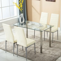 Cheap Glass Dining Room Set Metal Leg Tempered Glass Dining Table And Chair 4 Seater 6 Seater